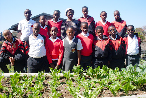 LSEN Learners with Mrs Ngcobo in Veggie Garden